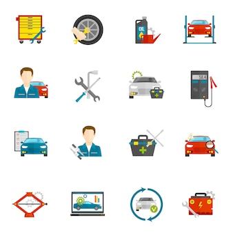 Ensemble d'icônes plat mécanicien auto