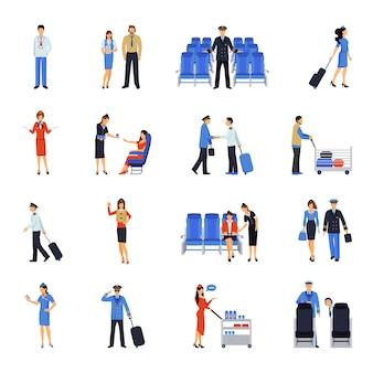 Ensemble d'icônes plat pilote et hôtesse de l'air