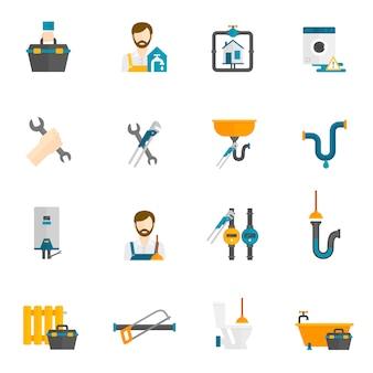 Ensemble d'icônes plat plombier