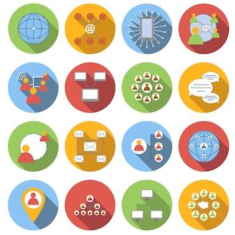 Ensemble d'icônes plat de réseau social isolé