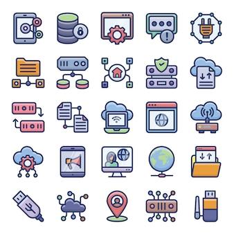 Ensemble d'icônes plat de réseautage