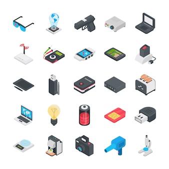 Ensemble d'icônes plat technologie