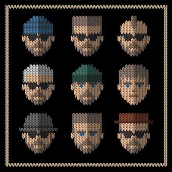 Ensemble d'icônes plat tricoté de style hipster homme