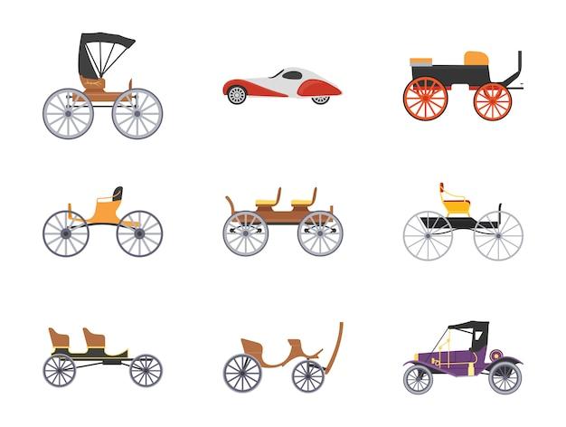 Ensemble d'icônes plat vintage transport