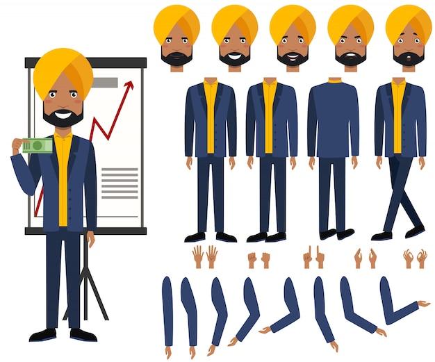 Ensemble d'icônes plat des vues, des poses et des émotions de l'homme d'affaires indien