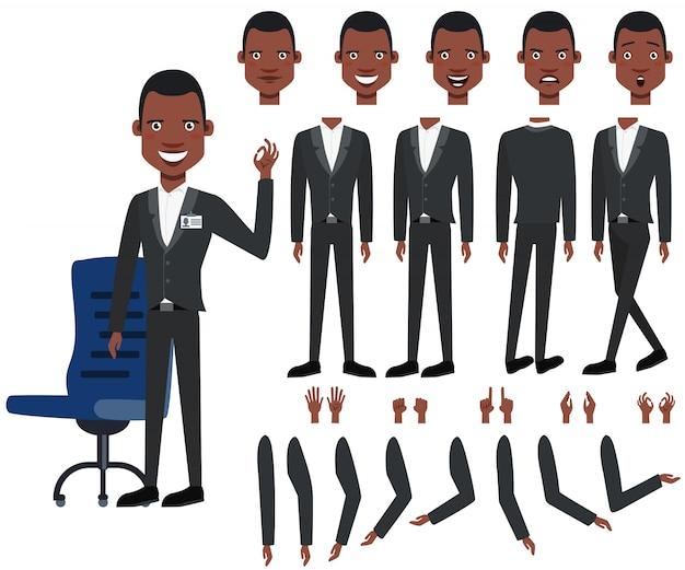 Ensemble d'icônes plat des vues, des poses et des émotions de patron noir