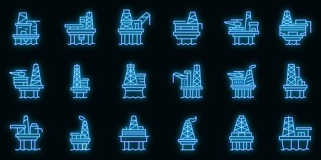 Ensemble d'icônes de plate-forme de forage en mer néon vectoriel