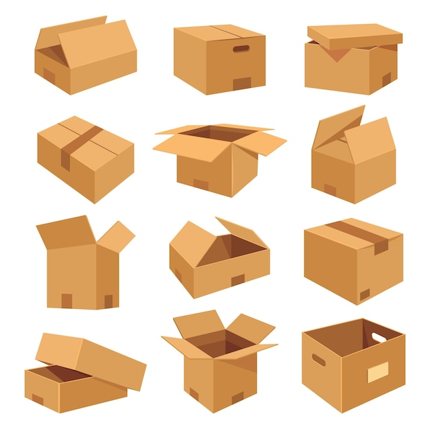 Ensemble d'icônes plates de boîtes réalistes isométriques