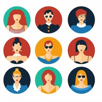 Ensemble d'icônes plates avec les femmes vecteur de fond