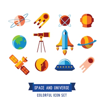 Ensemble d'icônes plates et illustrations. planètes, fusées, étoiles