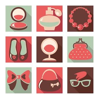 Ensemble d'icônes plates de mode femme