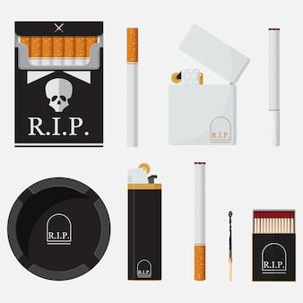 Ensemble d'icônes plates pour la journée mondiale sans tabac