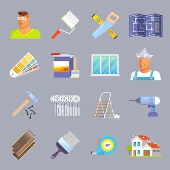 Ensemble d'icônes plates de rénovation
