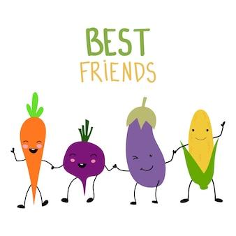 Ensemble d'icônes platestomate carottebeetroot maïs aubergine brocoli piment