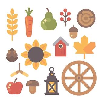 Ensemble d'icônes plats automne sur fond blanc