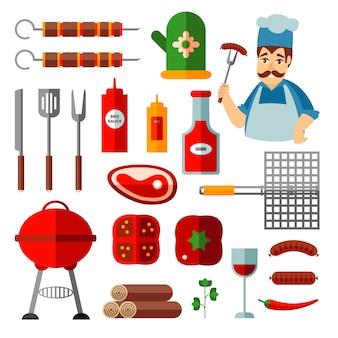 Ensemble d'icônes plats de barbecue