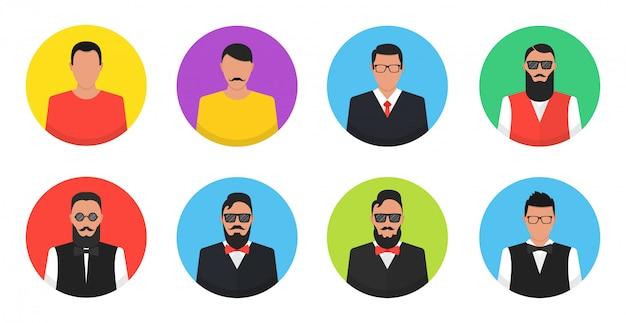 Ensemble d'icônes plats cercle avec hommes.