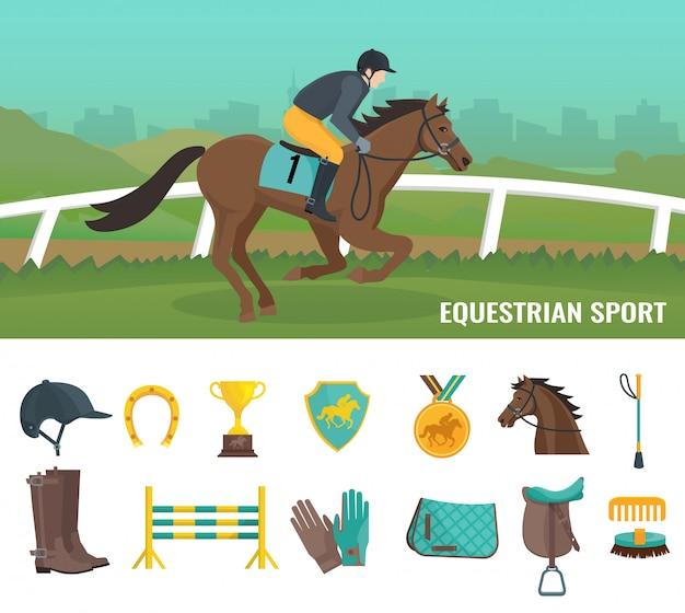 Ensemble d'icônes plats de couleur montrant le sport équestre et jockey d'équipement