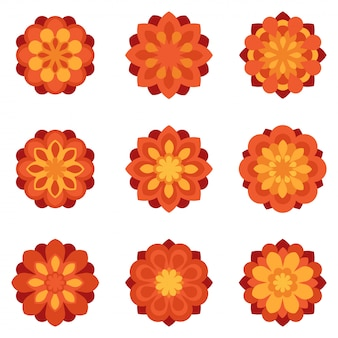 Ensemble d'icônes plats de fleurs de couleur