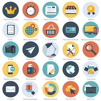Ensemble d'icônes plats pour affaires et technologie