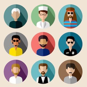 Ensemble d'icônes plats ronds avec des hommes.