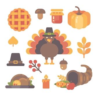 Ensemble d'icônes plats de thanksgiving sur fond blanc.