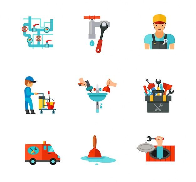 Ensemble d'icônes de plombier