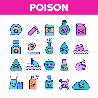 Ensemble d'icônes de poison toxique chimique