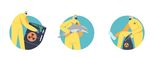 Ensemble d'icônes pollution par les hydrocarbures des océans, concept de catastrophe écologique. personnages en tenues de protection et masques à gaz avec baril toxique, dauphin mort et sac à ordures. illustration vectorielle de gens de dessin animé