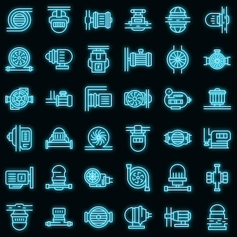 Ensemble d'icônes de pompe. ensemble de contour d'icônes vectorielles de pompe couleur néon sur fond noir