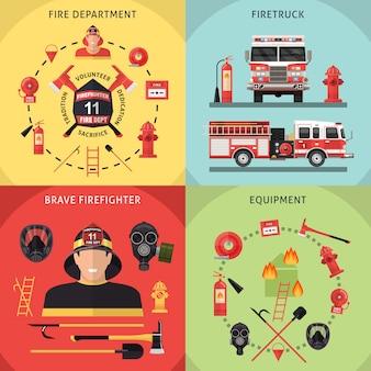 Ensemble d'icônes de pompier