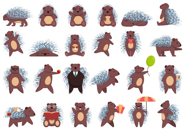 Ensemble d'icônes de porc-épic, style cartoon