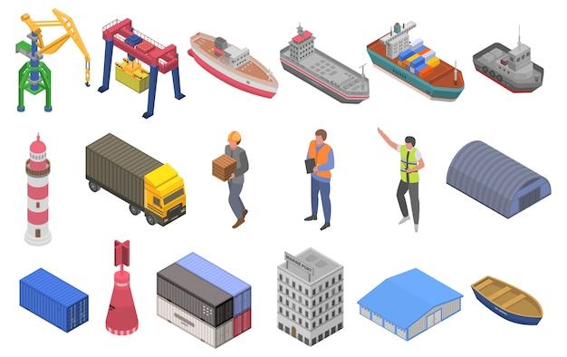 Ensemble d'icônes de port maritime, style isométrique