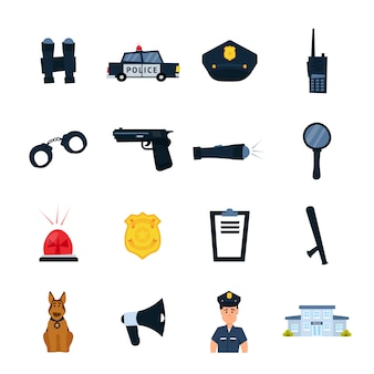 Ensemble d'icônes de poste de police.