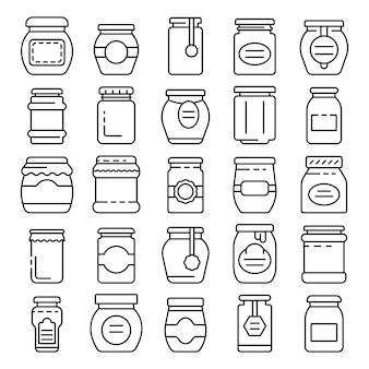 Ensemble d'icônes de pot de confiture, style de contour
