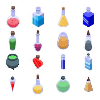 Ensemble d'icônes de potion, style isométrique
