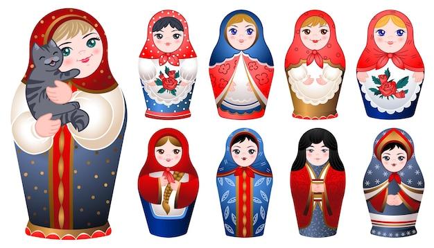 Ensemble d'icônes de poupée de nidification. ensemble de dessin animé d'icônes de poupée de nidification