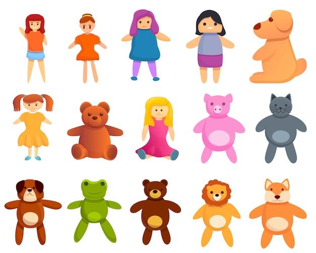 Ensemble d'icônes de poupée, style cartoon