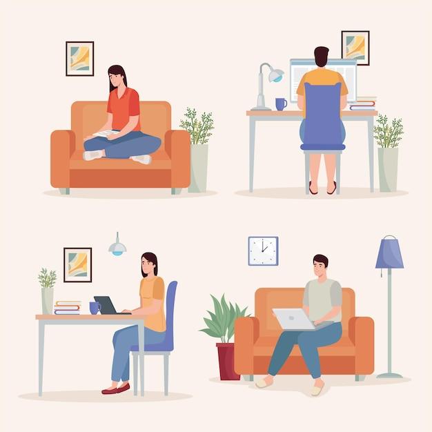 Ensemble d'icônes pour les personnes qui travaillent