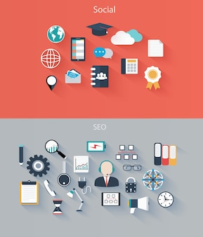 Ensemble d'icônes pour le référencement social des appareils web et mobiles