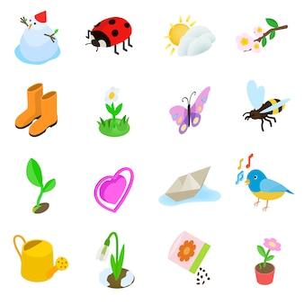 Ensemble d'icônes de printemps elemets