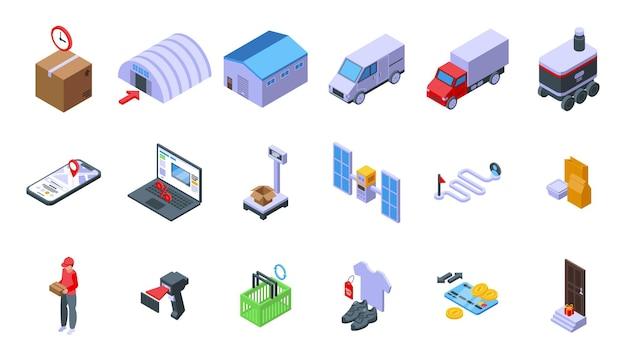 Ensemble d'icônes de processus de commande. ensemble isométrique d'icônes vectorielles de processus de commande pour la conception web isolé sur fond blanc