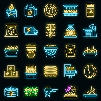 Ensemble d'icônes de production de café. ensemble de contour d'icônes vectorielles de production de café couleur néon sur fond noir
