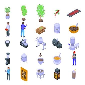 Ensemble d'icônes de production de café. ensemble isométrique d'icônes de production de café pour la conception web isolé sur fond blanc