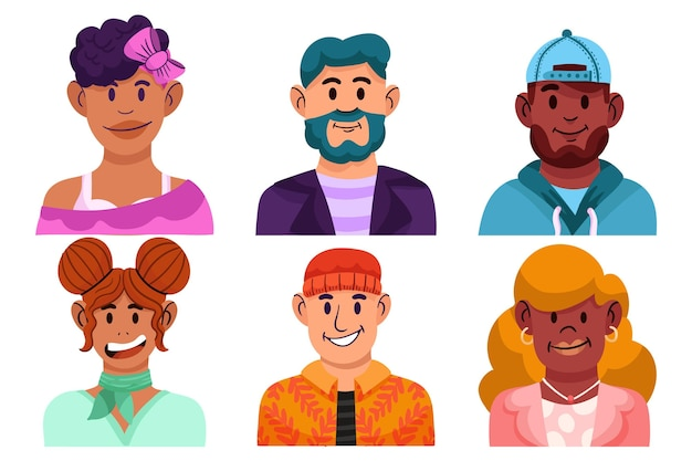 Ensemble d'icônes de profil dessinés à la main