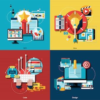Ensemble d'icônes de projet créatif