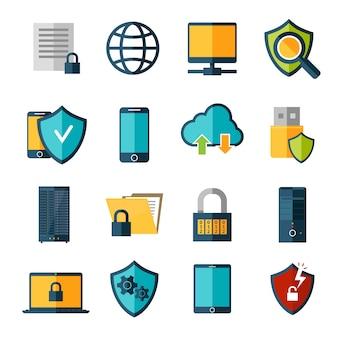 Ensemble d'icônes de protection des données
