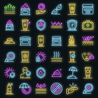 Ensemble d'icônes de protection uv. ensemble de contour d'icônes vectorielles de protection uv couleur néon sur fond noir