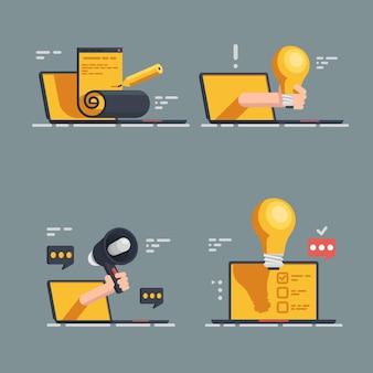Ensemble d'icônes de publicité intelligente. ensemble plat de 4 icônes de publicité intelligente pour le web