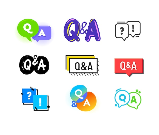 Ensemble d'icônes q et a, concept de questions et réponses. lettres majuscules, bulles et faq communication chat symboles pour infographie, contenu multimédia isolé sur fond blanc. illustration vectorielle